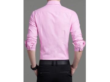 Camisa Masculina Slim Manga Longa - Rosa