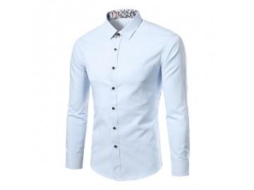 Camisa Masculina Slim Sem Bolso Manga longa - Azul Claro