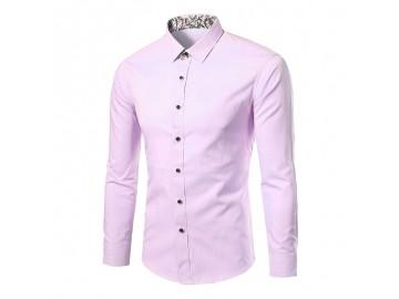 Camisa Masculina Slim Sem Bolso Manga longa - Rosa