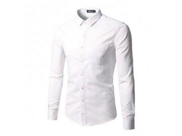 Camisa Social Masculina Slim Manga longa - Branco