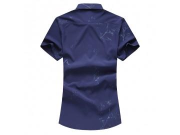 Camisa Masculina Slim Floral Manga Curta - Azul Marinho