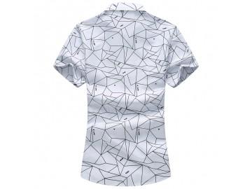 Camisa Masculina Slim Estampada Manga Curta - Branco