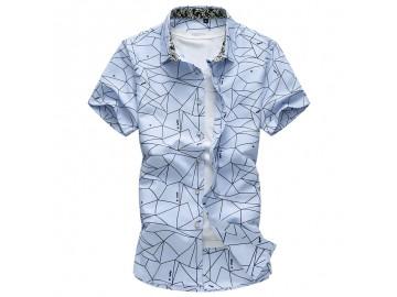Camisa Masculina Slim Estampada Manga Curta - Azul Claro