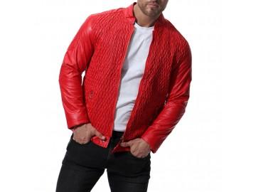 Jaqueta Masculina de Couro com Textura Frontal - Vermelho
