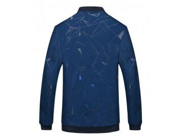 Jaqueta Masculina Poliéster Padrão Geométrico - Azul