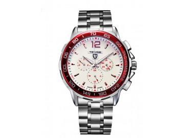 Relógio Tevise 356 Masculino Automático Pulseira de Aço - Branco e Vermelho