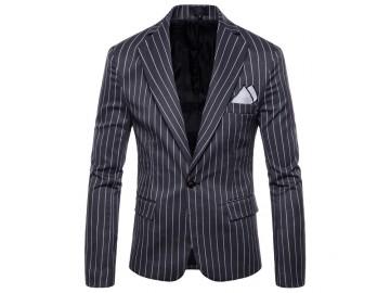 Blazer Masculino com Riscas - Cinza Escuro